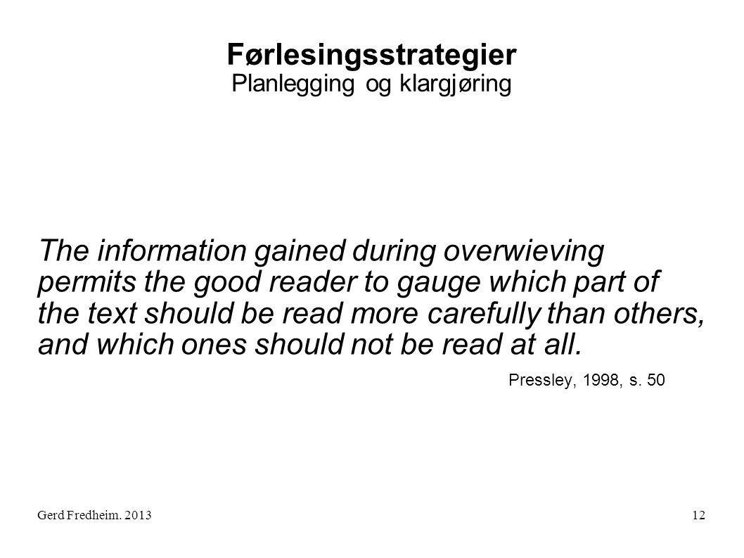 Førlesingsstrategier Planlegging og klargjøring