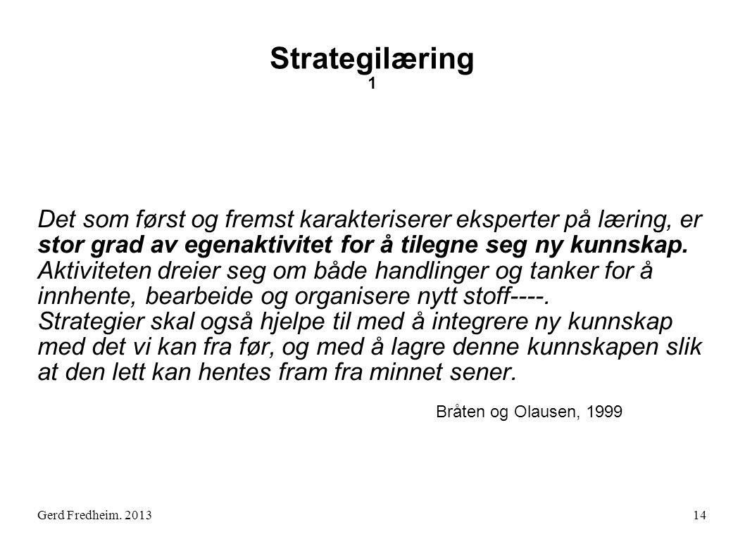 Strategilæring 1 Det som først og fremst karakteriserer eksperter på læring, er stor grad av egenaktivitet for å tilegne seg ny kunnskap.