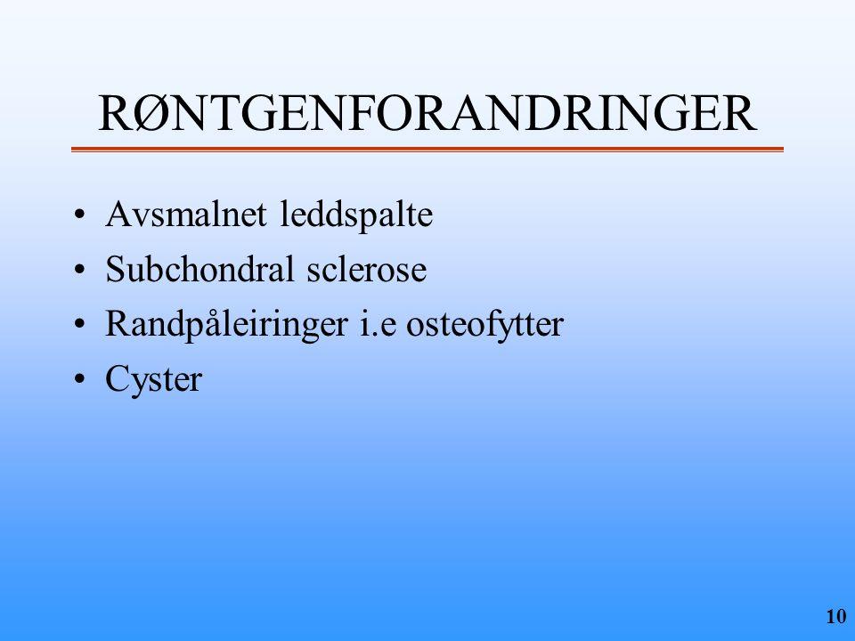 RØNTGENFORANDRINGER Avsmalnet leddspalte Subchondral sclerose