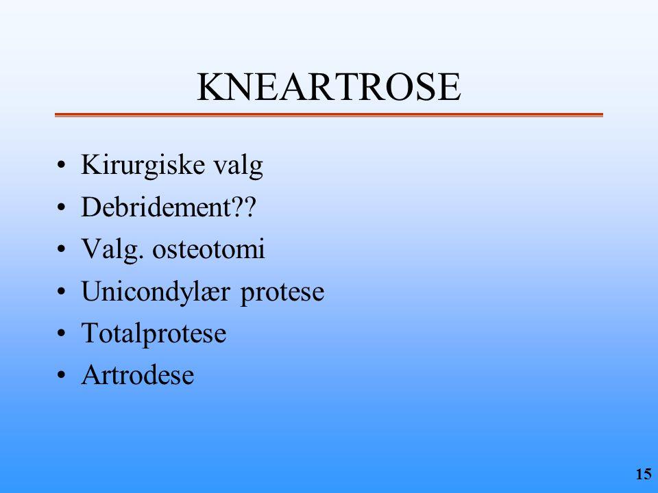 KNEARTROSE Kirurgiske valg Debridement Valg. osteotomi