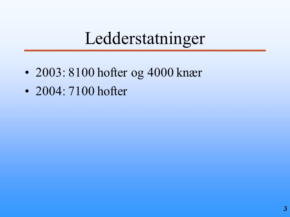 Ledderstatninger 2003: 8100 hofter og 4000 knær 2004: 7100 hofter