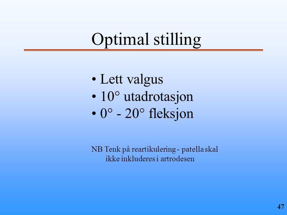 Optimal stilling Lett valgus 10° utadrotasjon 0° - 20° fleksjon