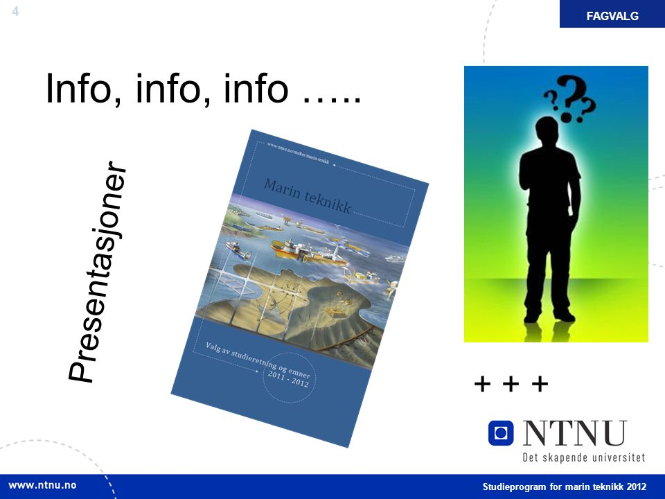 Info, info, info ….. Presentasjoner + + + FAGVALG FAKTA
