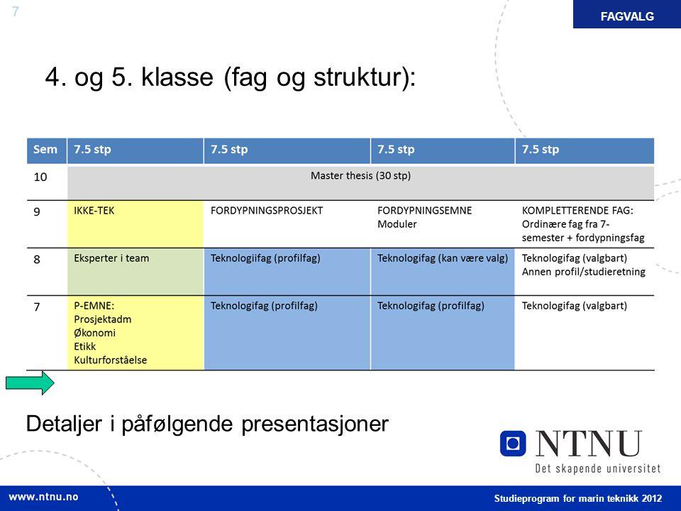 4. og 5. klasse (fag og struktur):