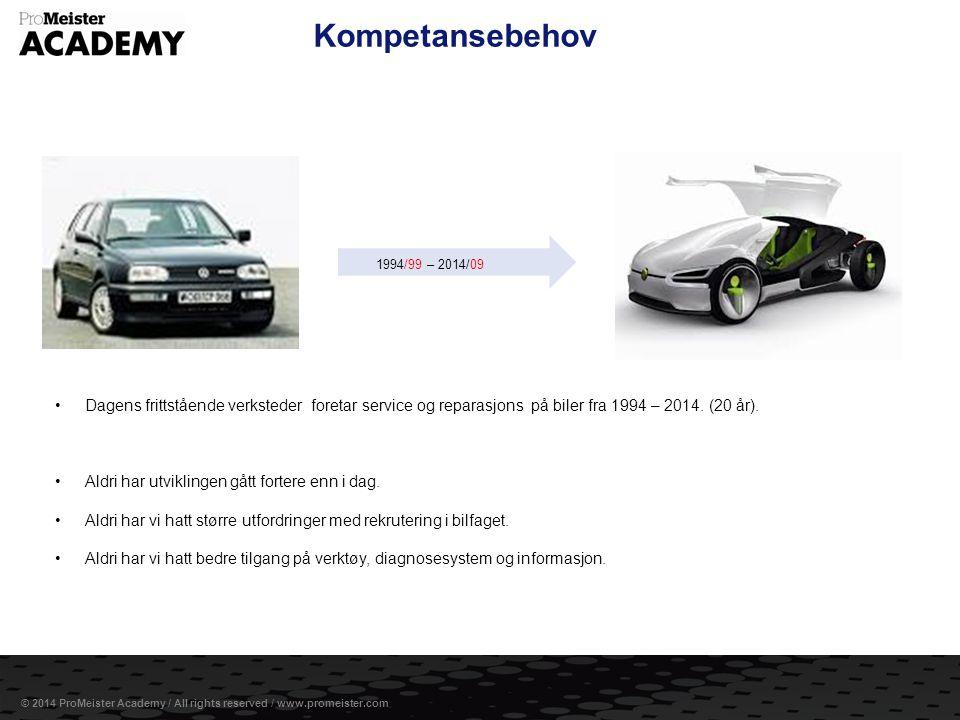 Kompetansebehov 1994/99 – 2014/09. Dagens frittstående verksteder foretar service og reparasjons på biler fra 1994 – 2014. (20 år).