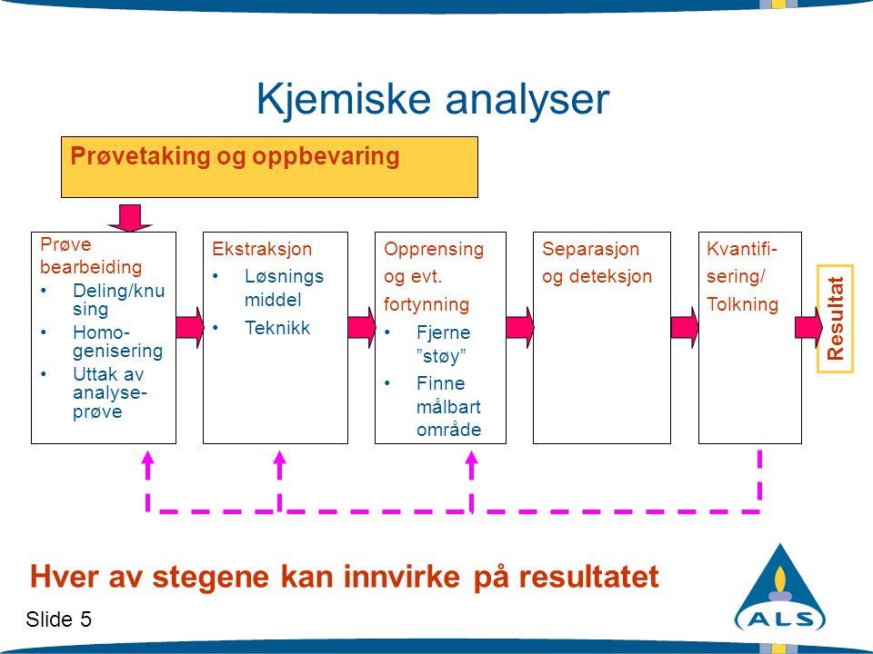 Kjemiske analyser Hver av stegene kan innvirke på resultatet