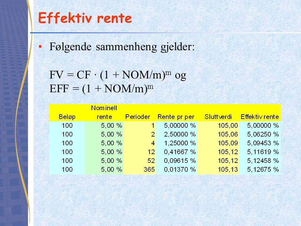 Effektiv rente Følgende sammenheng gjelder: FV = CF · (1 + NOM/m)m og EFF = (1 + NOM/m)m