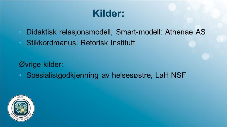 Kilder: Didaktisk relasjonsmodell, Smart-modell: Athenae AS