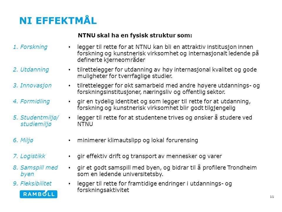 Ni effektmål NTNU skal ha en fysisk struktur som: 1. Forskning