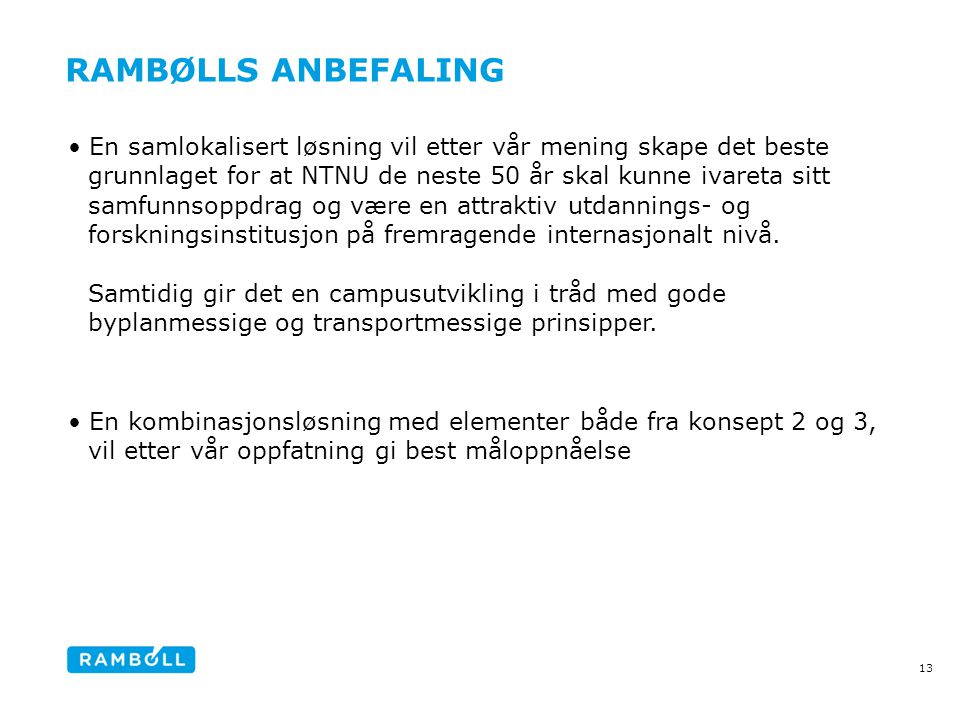 Rambølls Anbefaling