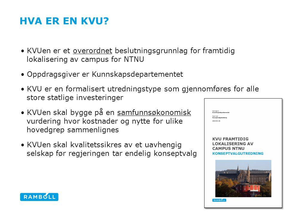 Hva er en KVU KVUen er et overordnet beslutningsgrunnlag for framtidig lokalisering av campus for NTNU.
