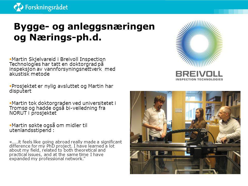 Bygge- og anleggsnæringen og Nærings-ph.d.