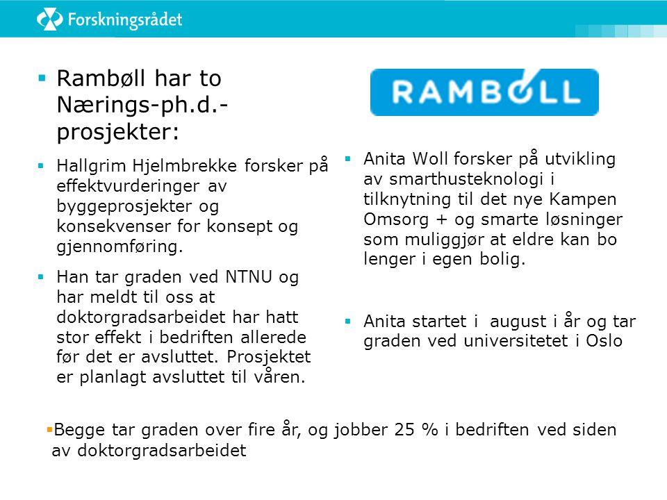 Rambøll har to Nærings-ph.d.- prosjekter: