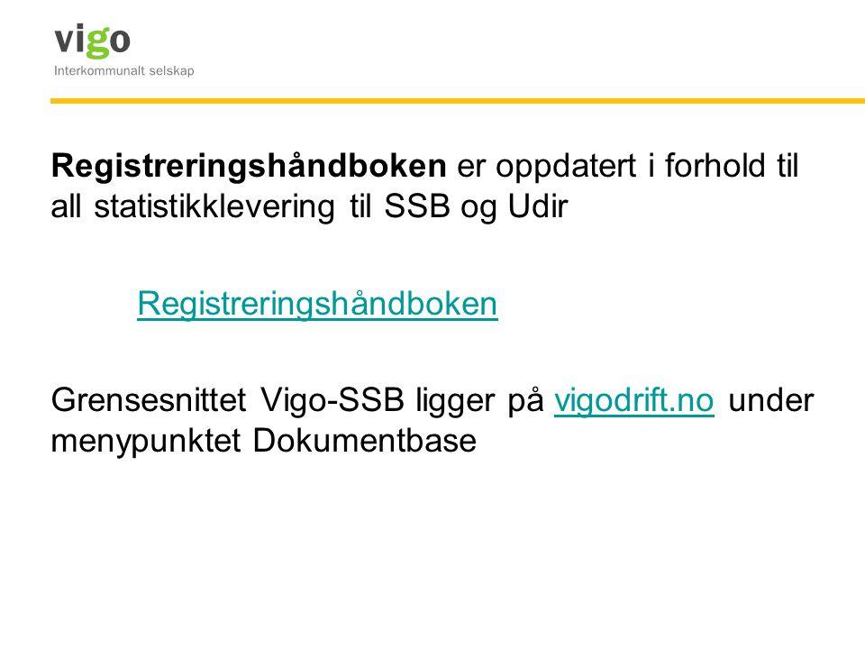 Registreringshåndboken er oppdatert i forhold til all statistikklevering til SSB og Udir Registreringshåndboken Grensesnittet Vigo-SSB ligger på vigodrift.no under menypunktet Dokumentbase
