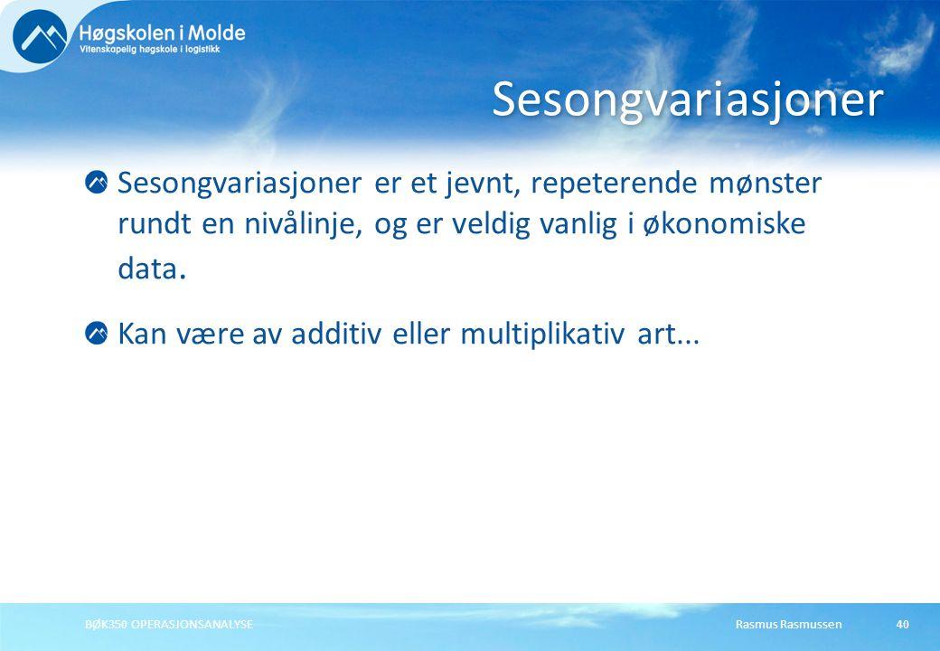 Sesongvariasjoner Sesongvariasjoner er et jevnt, repeterende mønster rundt en nivålinje, og er veldig vanlig i økonomiske data.