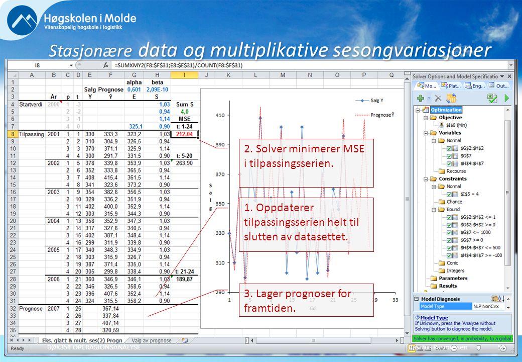 Stasjonære data og multiplikative sesongvariasjoner