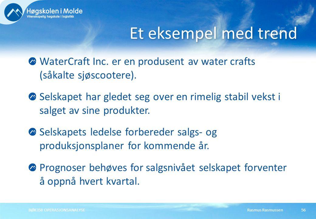 Et eksempel med trend WaterCraft Inc. er en produsent av water crafts (såkalte sjøscootere).