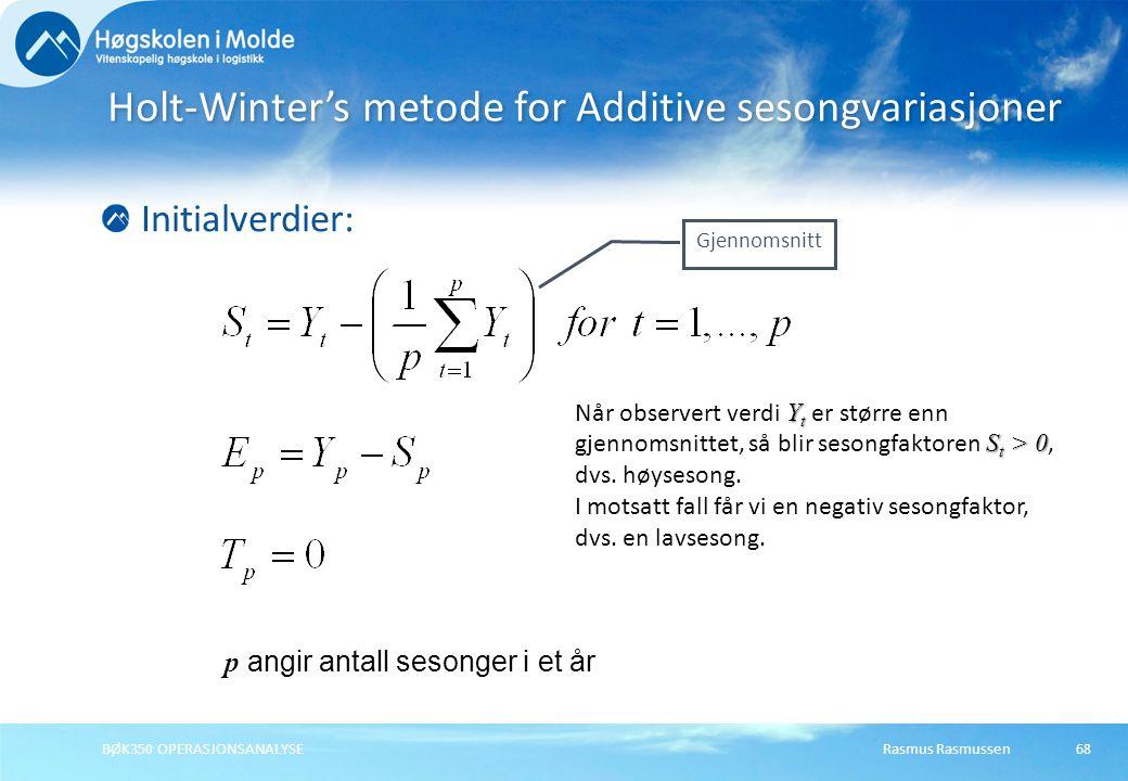 Holt-Winter's metode for Additive sesongvariasjoner