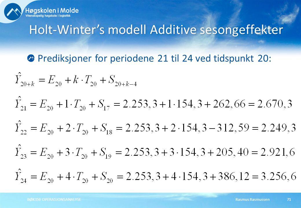 Holt-Winter's modell Additive sesongeffekter