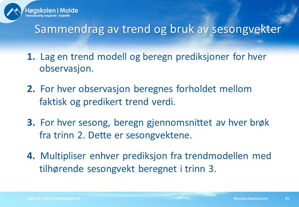 Sammendrag av trend og bruk av sesongvekter