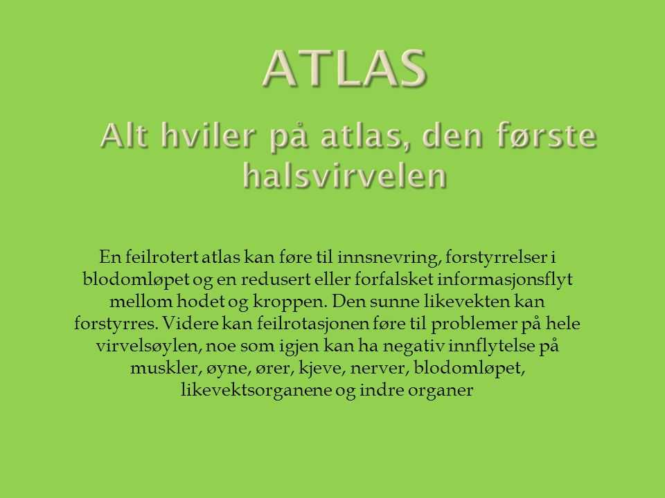 Atlas Alt hviler på atlas, den første halsvirvelen