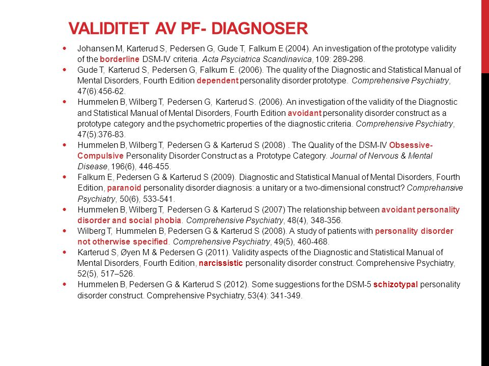 Validitet av PF- diagnoser