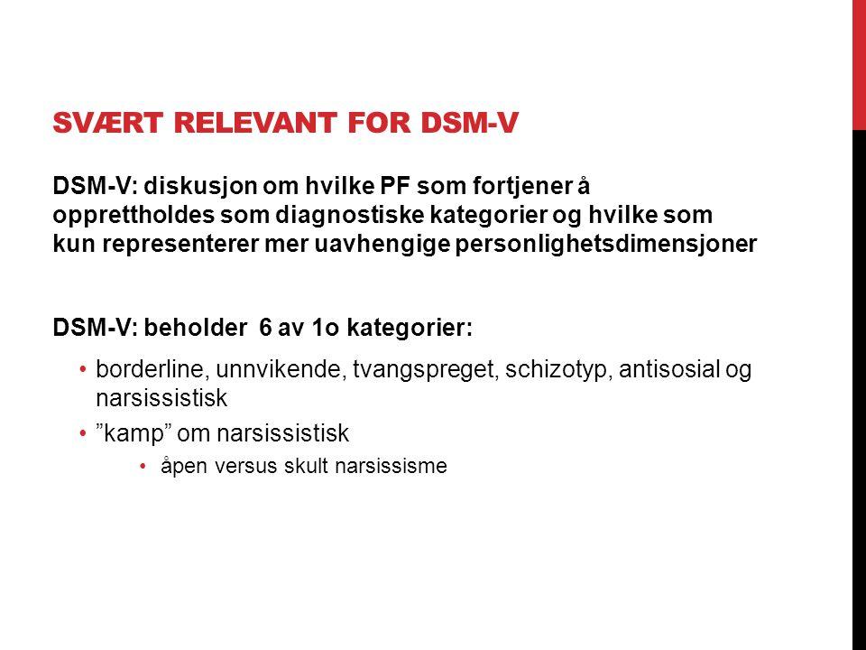 Svært relevant for DSM-V