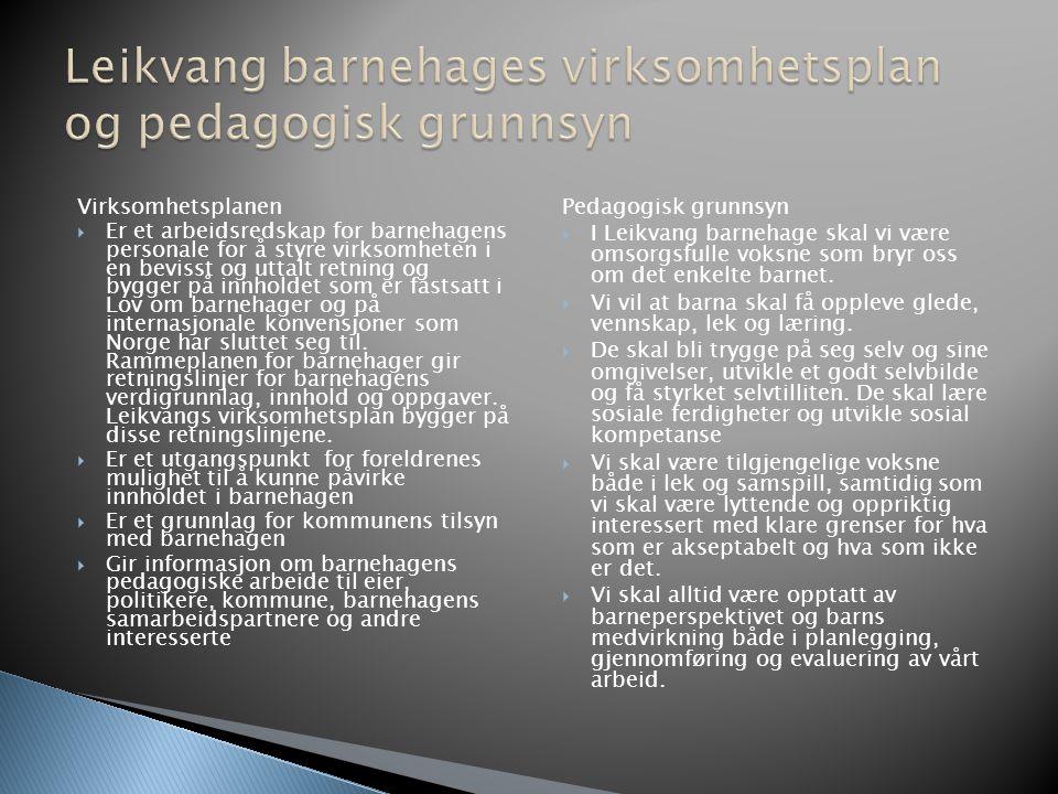 Leikvang barnehages virksomhetsplan og pedagogisk grunnsyn