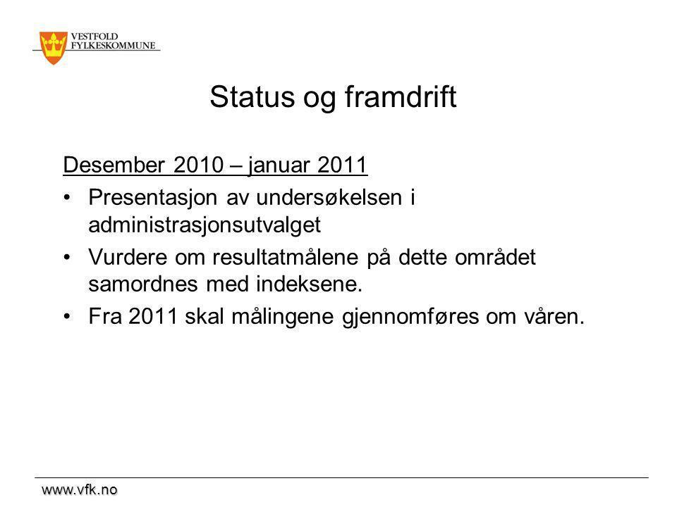 Status og framdrift Desember 2010 – januar 2011