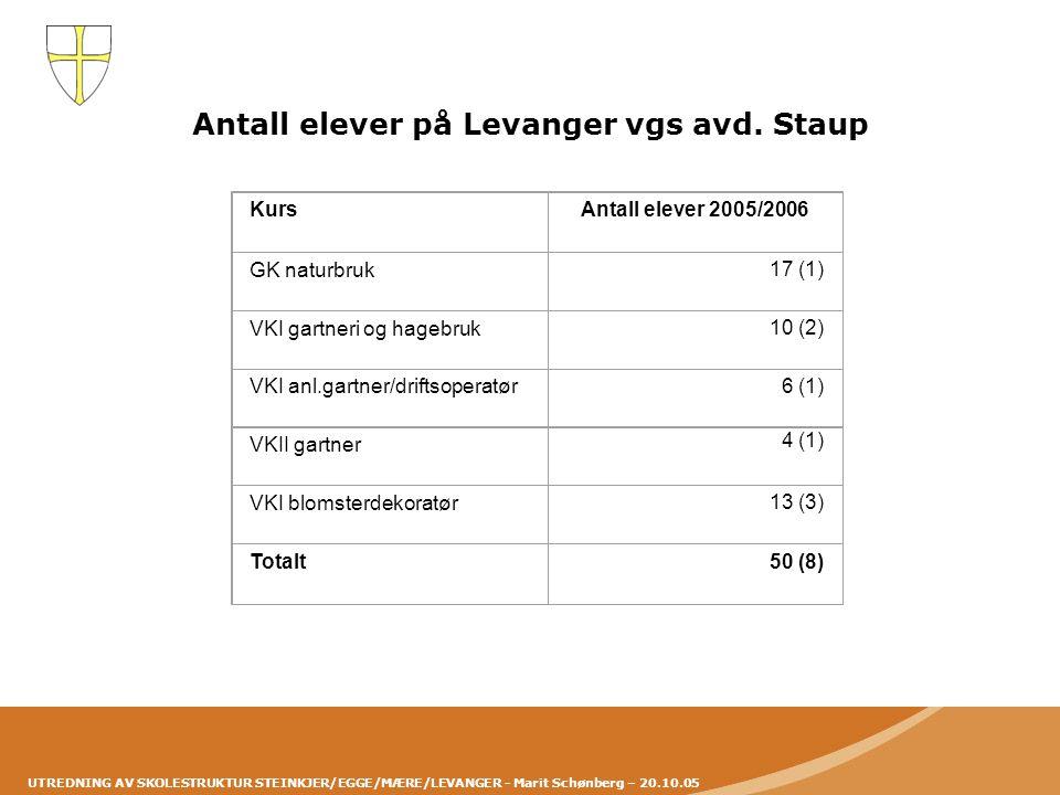 Antall elever på Levanger vgs avd. Staup