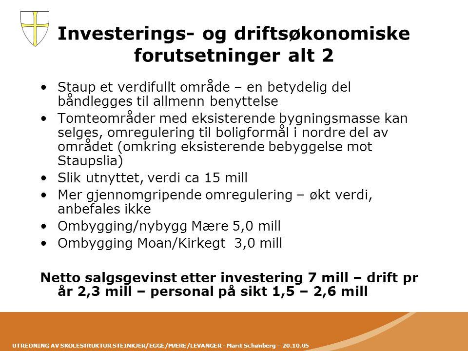 Investerings- og driftsøkonomiske forutsetninger alt 2