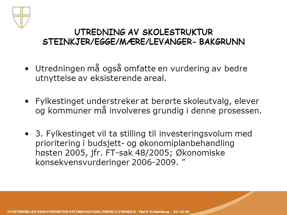 UTREDNING AV SKOLESTRUKTUR STEINKJER/EGGE/MÆRE/LEVANGER- BAKGRUNN