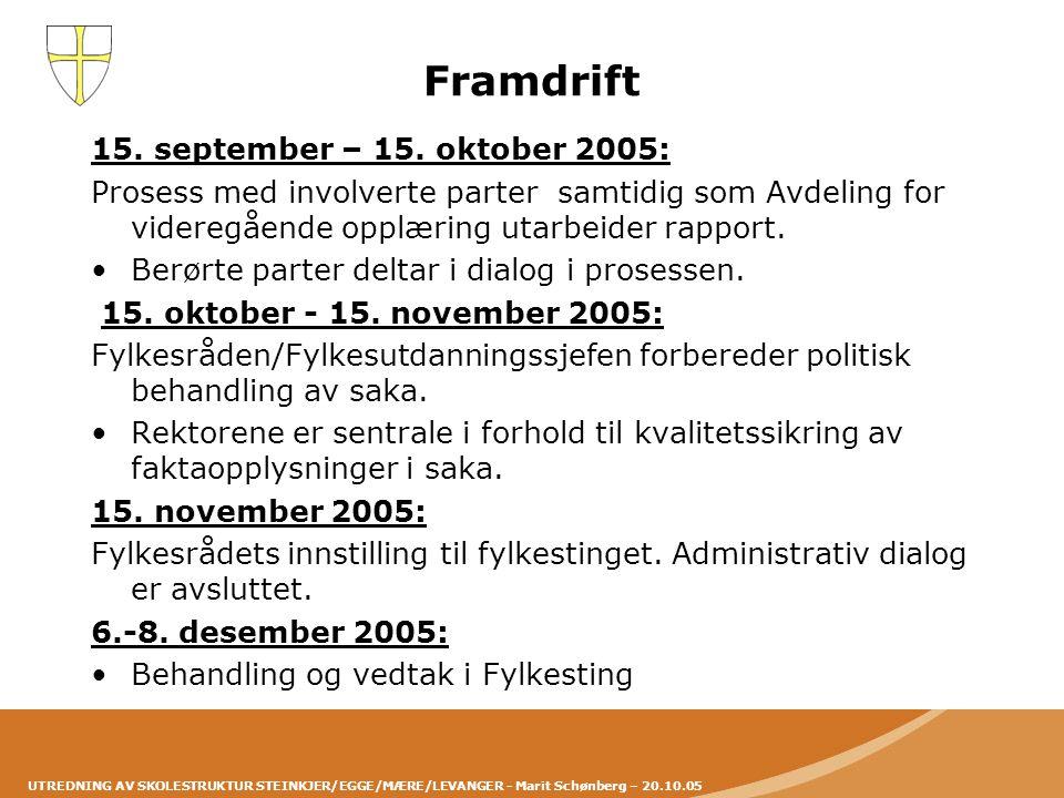 Framdrift 15. september – 15. oktober 2005: