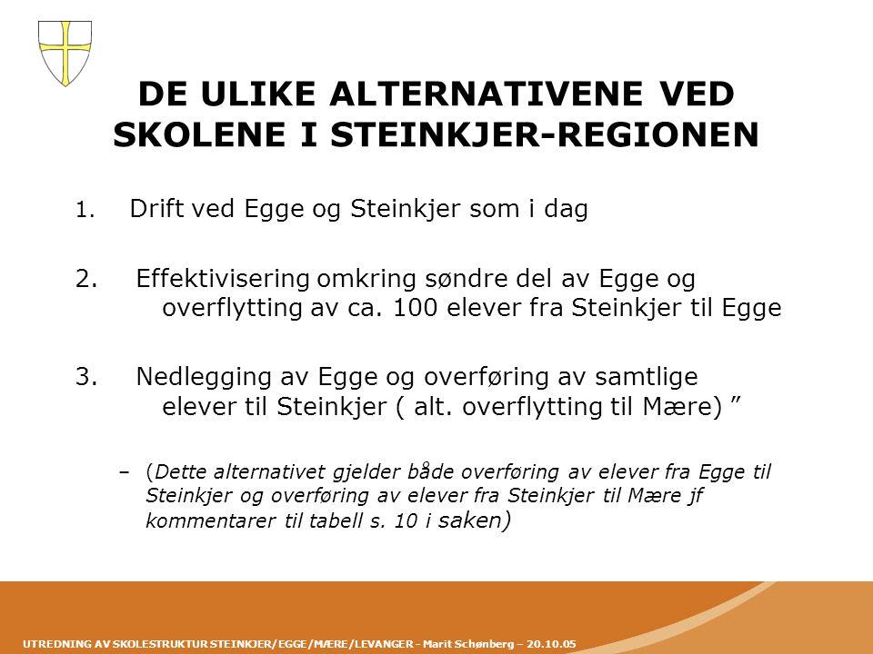 DE ULIKE ALTERNATIVENE VED SKOLENE I STEINKJER-REGIONEN