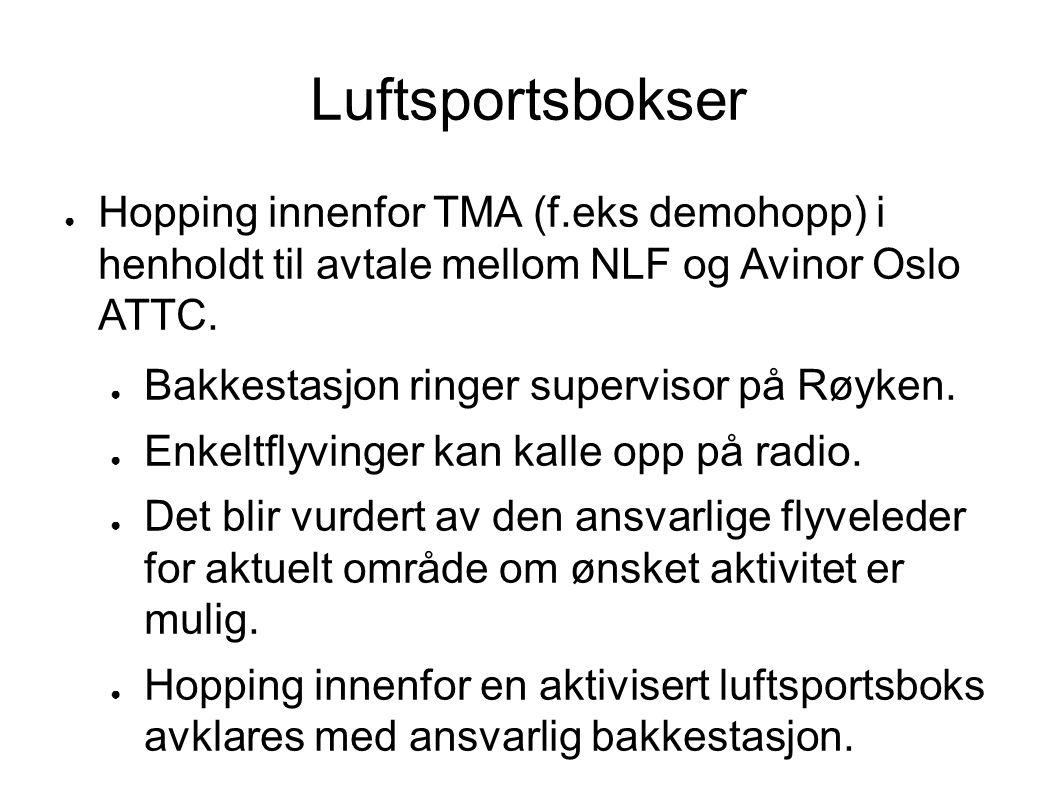 Luftsportsbokser Hopping innenfor TMA (f.eks demohopp) i henholdt til avtale mellom NLF og Avinor Oslo ATTC.