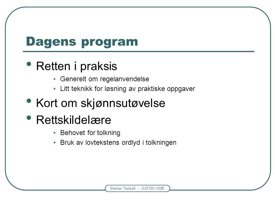 Dagens program Retten i praksis Kort om skjønnsutøvelse Rettskildelære
