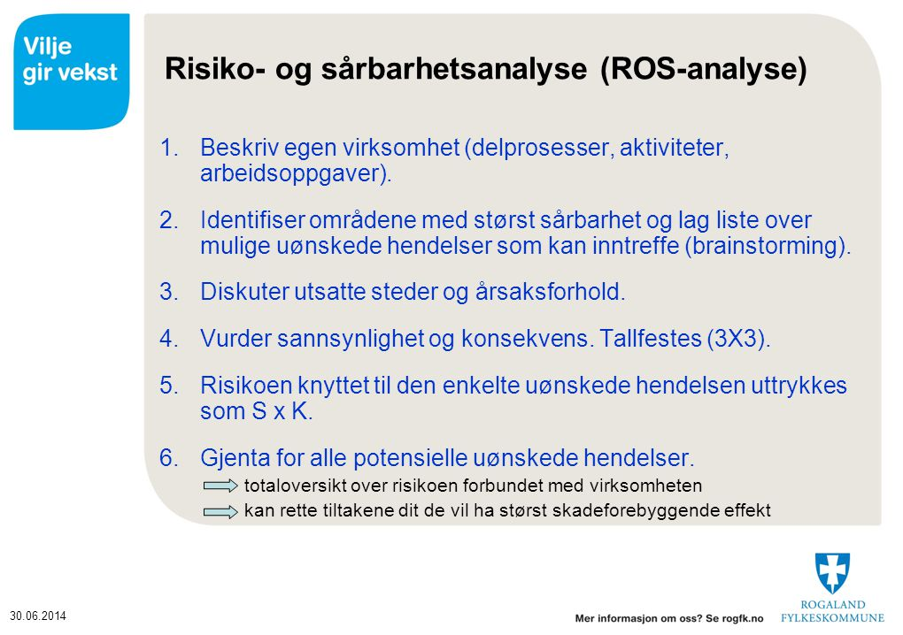 Risiko- og sårbarhetsanalyse (ROS-analyse)