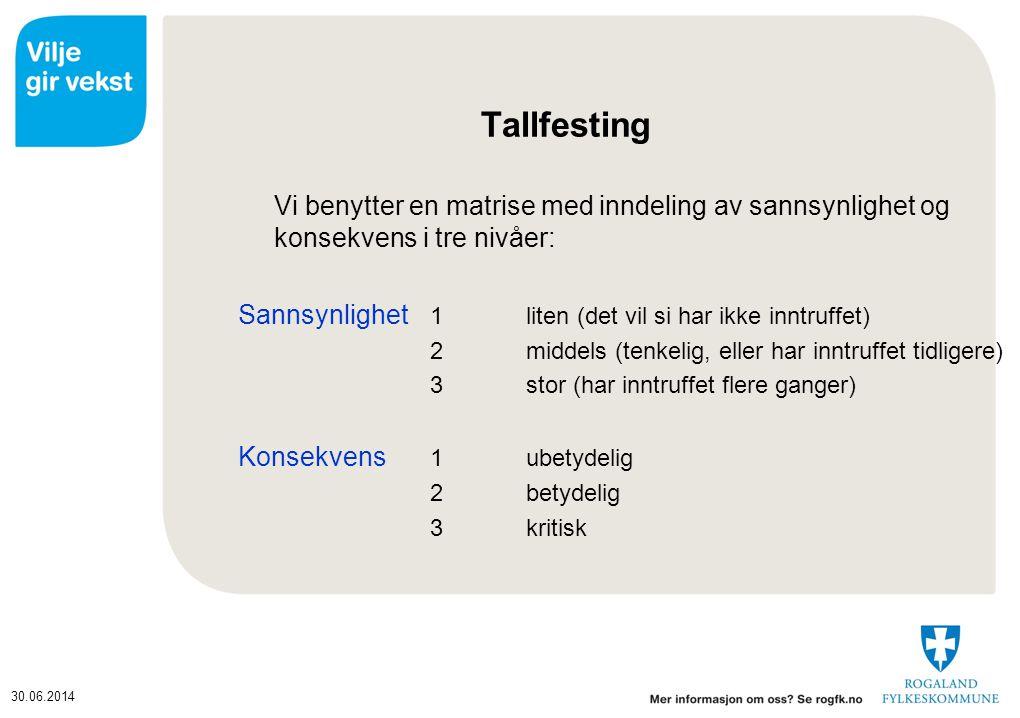 Tallfesting Vi benytter en matrise med inndeling av sannsynlighet og konsekvens i tre nivåer: