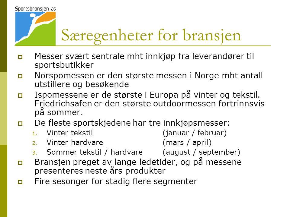 Særegenheter for bransjen