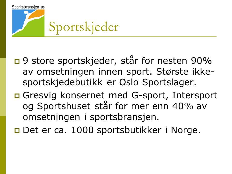 Sportskjeder 9 store sportskjeder, står for nesten 90% av omsetningen innen sport. Største ikke-sportskjedebutikk er Oslo Sportslager.