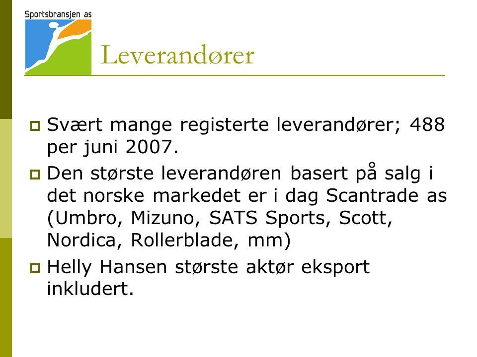 Leverandører Svært mange registerte leverandører; 488 per juni 2007.