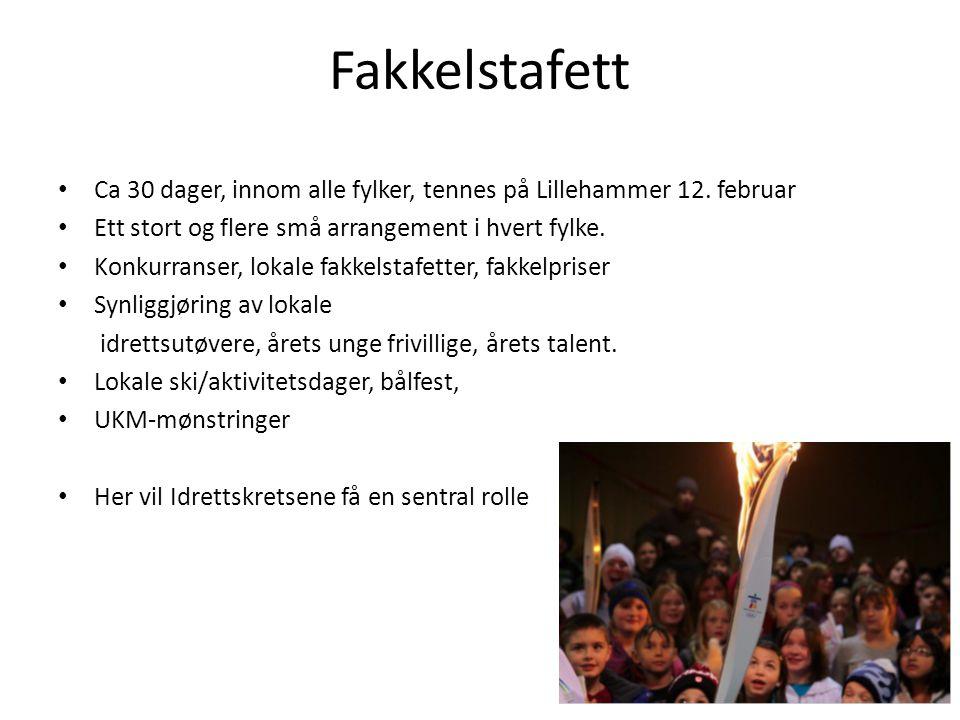 Fakkelstafett Ca 30 dager, innom alle fylker, tennes på Lillehammer 12. februar. Ett stort og flere små arrangement i hvert fylke.