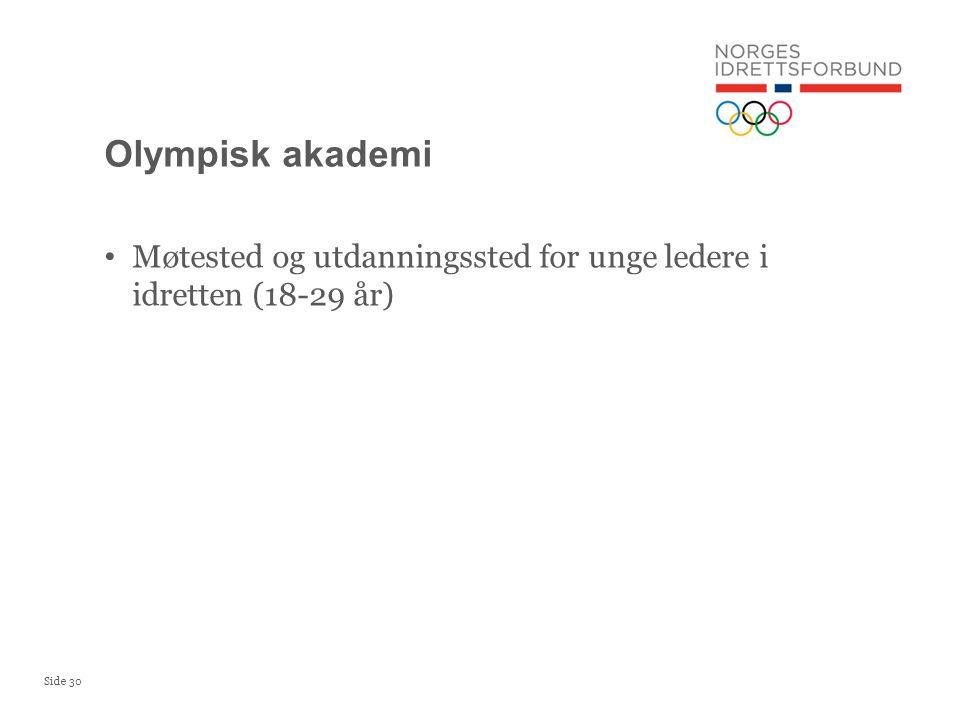 Olympisk akademi Møtested og utdanningssted for unge ledere i idretten (18-29 år)