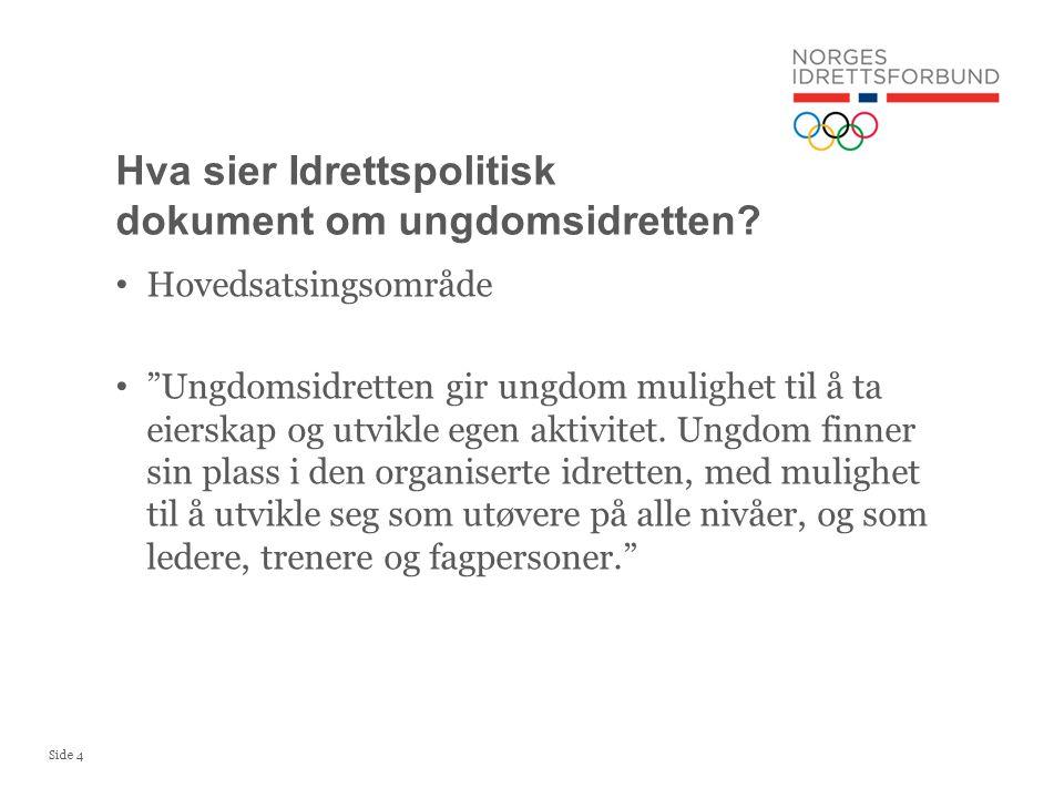 Hva sier Idrettspolitisk dokument om ungdomsidretten