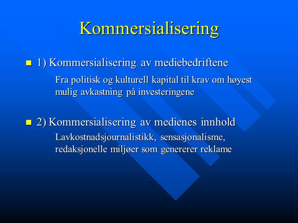Kommersialisering 1) Kommersialisering av mediebedriftene