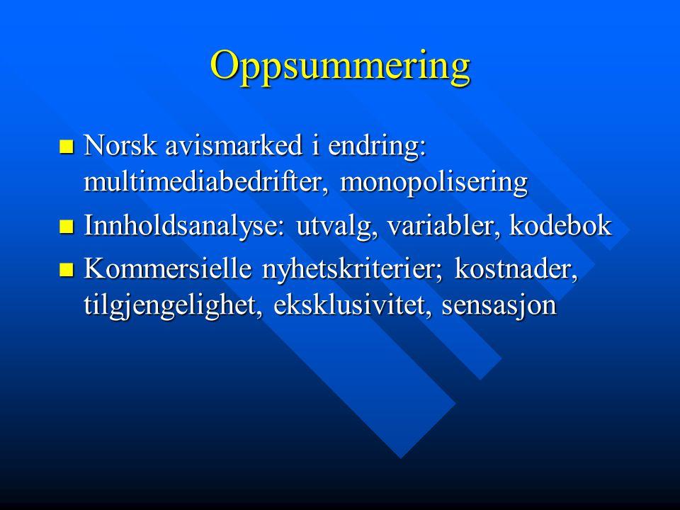 Oppsummering Norsk avismarked i endring: multimediabedrifter, monopolisering. Innholdsanalyse: utvalg, variabler, kodebok.