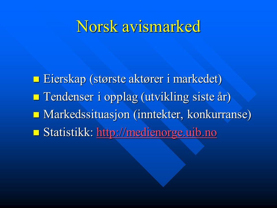 Norsk avismarked Eierskap (største aktører i markedet)