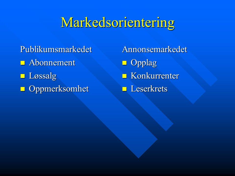 Markedsorientering Publikumsmarkedet Abonnement Løssalg Oppmerksomhet