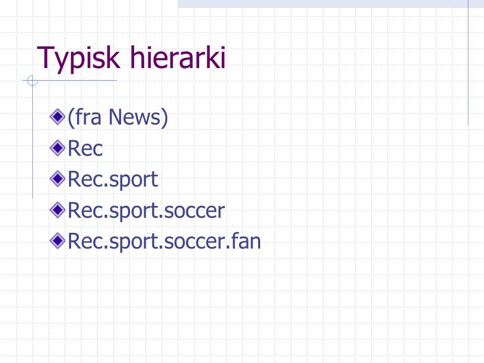 Typisk hierarki (fra News) Rec Rec.sport Rec.sport.soccer