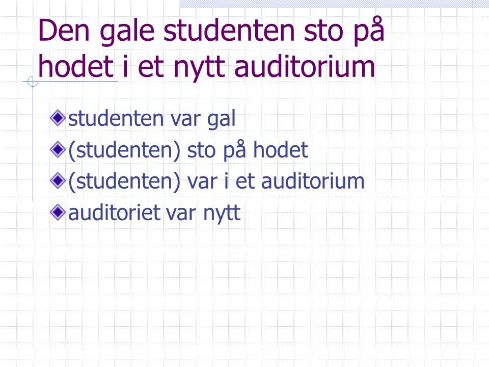 Den gale studenten sto på hodet i et nytt auditorium